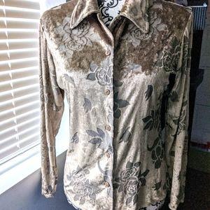 Retro Y2K velvety smooth burnout shirt sz:S